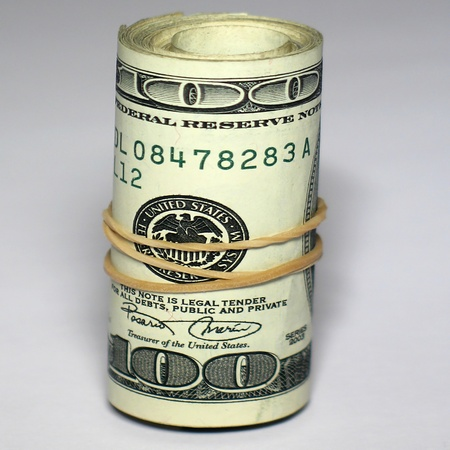 Hundreds dollars rolled