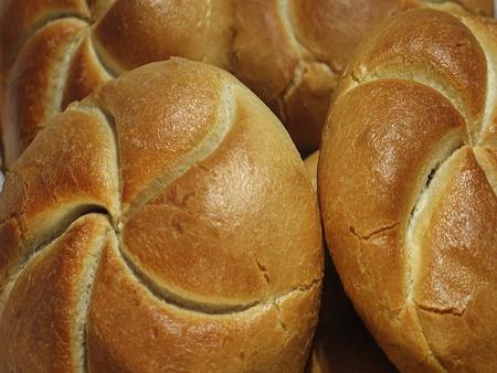 Fresh hot baked buns Stock Photo