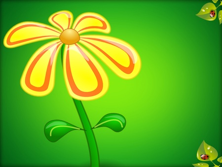 Yellow flower on green