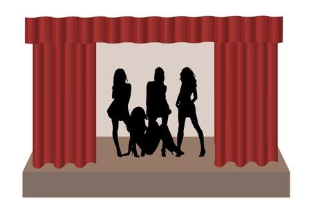 Girls on stage,illustration