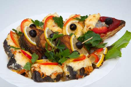 魚のフライから料理を所有している高い栄養価値 写真素材
