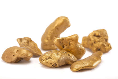 Nuggets of gold  on a white background.