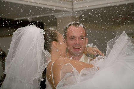 Happy married couple. The first snow falls. Stock Photo