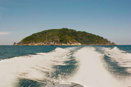 A view of the departing islands from the motor boat. Stock Photo - 91171966