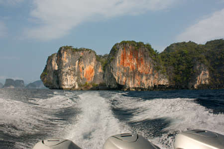 A view of the departing islands from the motor boat.