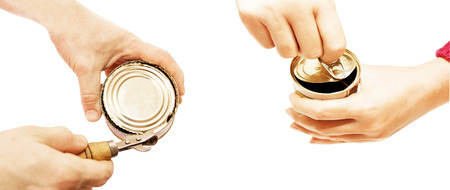 tightness: Different processes of opening of a can with tinned products on a white background Stock Photo