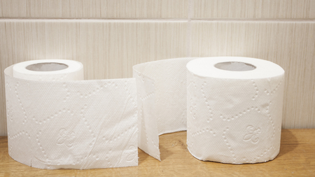 The unwound rolls of white toilet paper with texture in a toilet photo