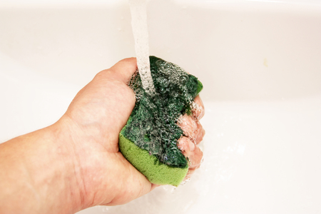 soaking: The process of soaking the sponge under running water from the tap