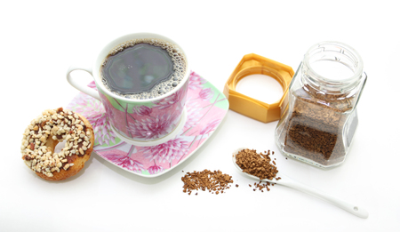Morning coffee with cookies on a white background photo