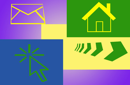 shooters: Abstraction - different figures (the house, e-mail, the direction shooters) on a multi-colored background Stock Photo