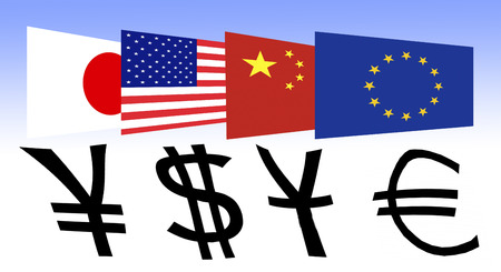 appropriate: Flag of Japan, the U.S., China and Europe with appropriate currency symbol