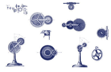 wiring: Different mechanical moving parts: metal gears, wiring diagrams, tools