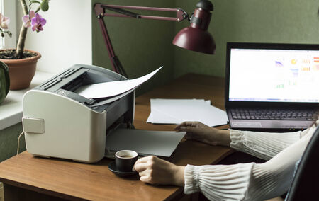 Printing documents from your computer to your printer in the Office background photo