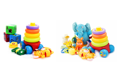 for children toys: Various colorful toys for small children on a white background
