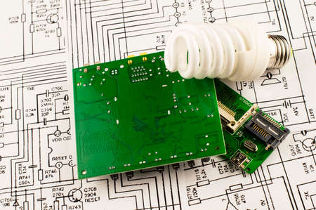 disconnecting: Fluorescent lamp and chip on the background drawings of microcircuits
