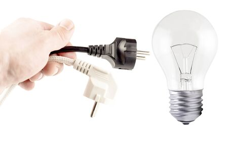 incandescent: Plug in your hand, incandescent lamp  on a white background