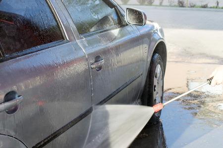 carwash: El proceso de lavado del coche en el carwash Foto de archivo