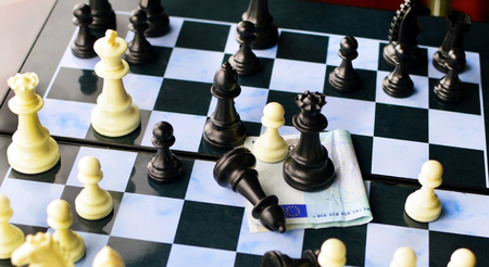 chess board: The game of chess and the European currency on the board