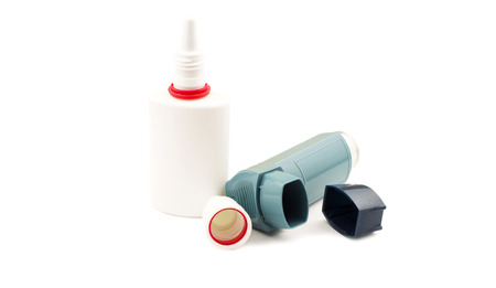 nose drops: Drops and nose spray to treat asthma on a white background Stock Photo