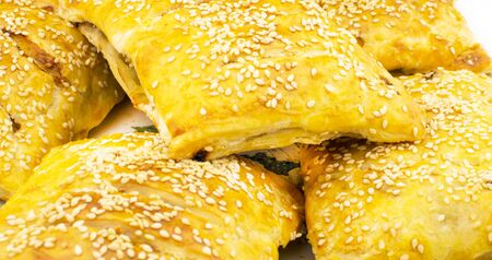 sprinkled: Texture - pasties stuffed with meat sprinkled with sesame seeds