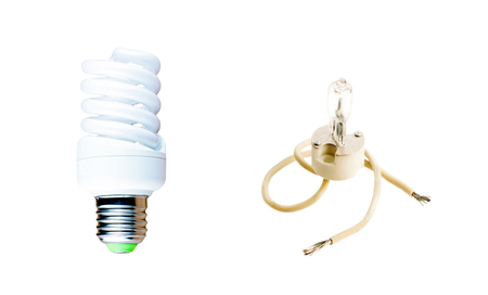 halogen lighting: Halogen and fluorescent lamp on a white background