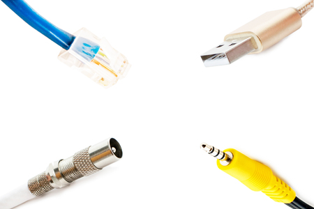 adapters: Adapters for audio, Internet and television on a white background Stock Photo