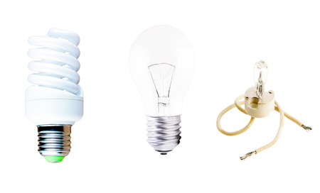 powerhouse: Halogen, Incandescent and fluorescent lamp on a white background