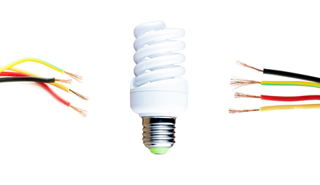 conductor electricity: Fluorescent lamp and wires located on either side on a white background Stock Photo