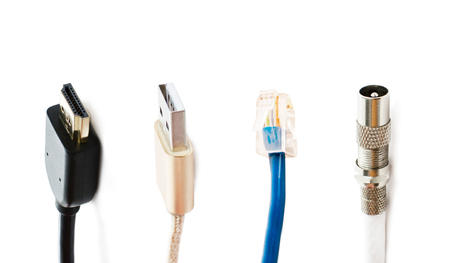 adapters: Different types of adapters for connecting to TVs, Internet and computer Stock Photo