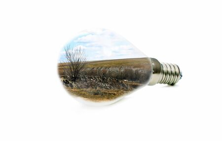 led lamp: LED lamp with a picture of a spring landscape inside on a white background