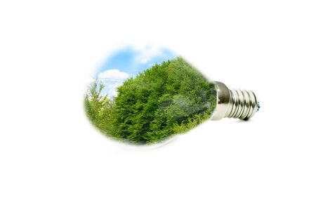 led lamp: LED lamp with a picture of a green forest inside on a white background Stock Photo