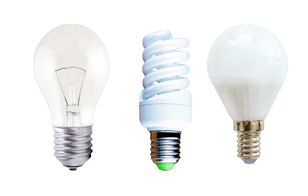 incandescent: LED lamp, fluorescent lamp and incandescent on a white background