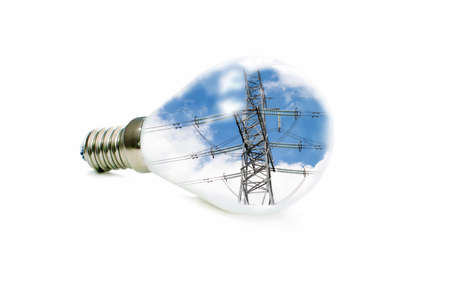 led lamp: LED lamp with a picture of power lines inside on a white background