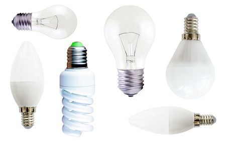 diode: Incandescent, fluorescent and diode  lamps on a white background