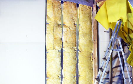 thermal insulation: Installation  walls  with plasterboard and mineral wool for thermal insulation Stock Photo