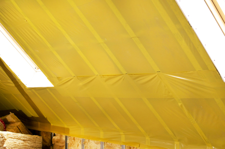 attic: Texture - attic when installing waterproofing of yellow polyethylene films