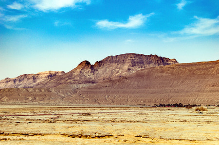 Judean mountains in the desert against the blue sky