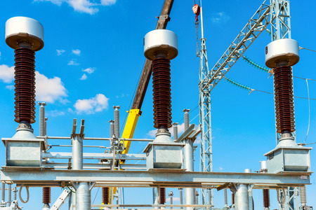 High-voltage equipment - vacuum switches and insulators on metal supports on metal supports