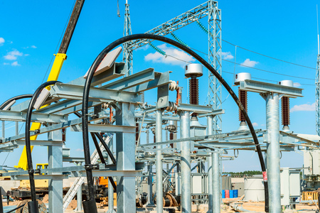 High-voltage equipment - vacuum switches and insulators on metal supports on metal supports Stock Photo