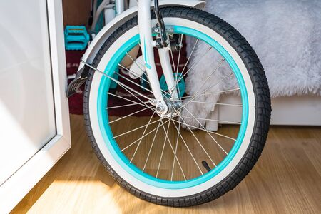 Bicycle wheel with metal spokes, black rubber and turquoise rim