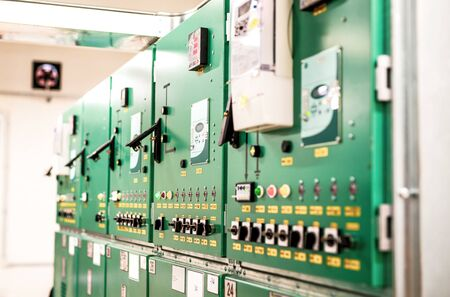 Room with withdrawable trolleys of disconnectors of distribution equipment of voltage 10 Kv Stock fotó