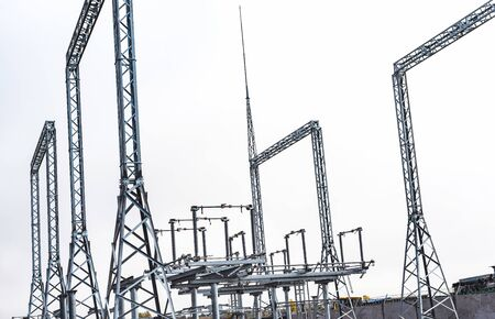 Construction of a new electrical substation from various elements of high-voltage equipment Фото со стока