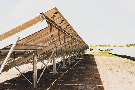 Rear view solar panels are connectors to connect the entire system Stock Photo