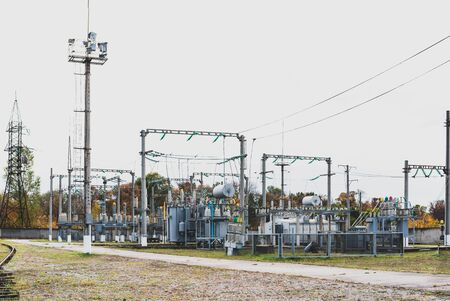 High-voltage electrical substation - insulators, supports, wires and other components