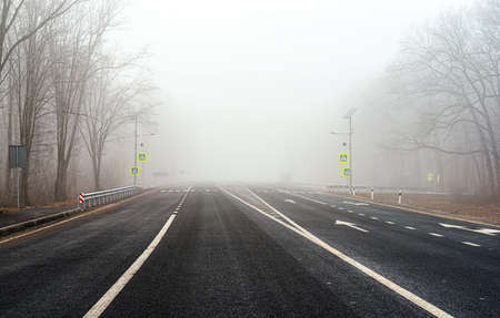 Asphalt road with white markings in thick fog with bare trees on the sides