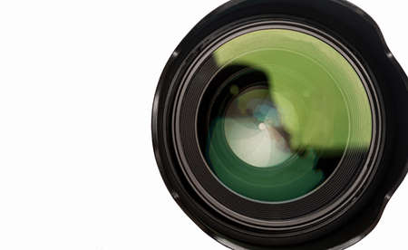 The back of a photo lens close up with a visible aperture