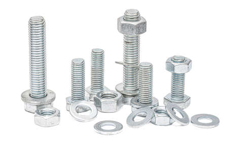 Steel bolts of different lengths with nuts and washers on a white background