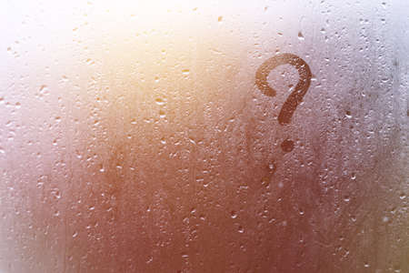 the inscription on the sweaty glass question mark.