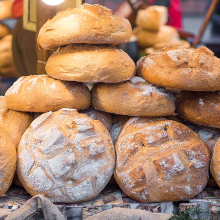 Fresh bread at the Christmas outdoors market
