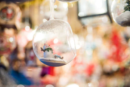 Christmas glass ornaments shop on Christmas market in Europe